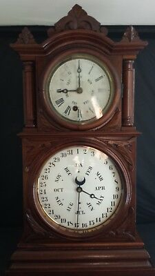 Antique E. Ingraham Double Dial Clock with B.B. Lewis Perpetual Calendar