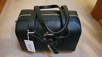 GUESS LADIES AZRAEL Box Satchel Crossbody Bag Gold Logo