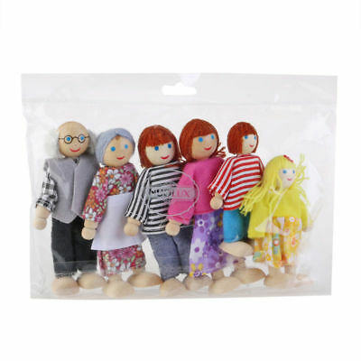 6x Wooden Family Dolls House Furniture Miniature Doll Toy For Kid Child Gifts UK