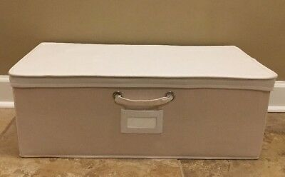 NEW Pottery Barn Teen Contrast Border Cameron Base Storage IVORY