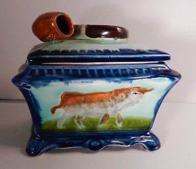 Old Antique French Majolica Pipe Tobacco Covered Dish Box, Cow Motif