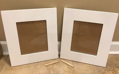 "NEW 2PC Pottery Barn Kids Harper Rectangle Frames 8""x10"" WHITE **small issue**"