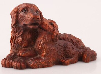 Precious Boxwood Statue Old Hand-Carved Animal Dog Mascot Decorated Gifts