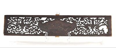 Antique Chinese Two Side Carved Black Wooden Panel, Qing Dynasty, 19th c