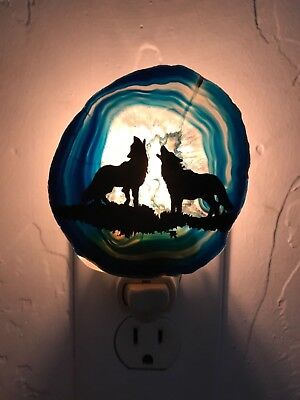 BLUE AGATE SLAB NIGHTLIGHT Montana Night Light Howling Wolf wolves NOC healing