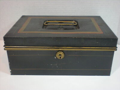Antique Metal DOCUMENT Cash  BOX Black and Glod vtg Toleware