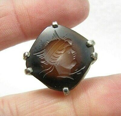 Antique Art Deco Sterling Silver Carved Intaglio Soldier Warrior Stone Ring Sz 6