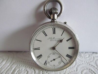1889 J. W. Benson pocket watch solid silver good condition and working