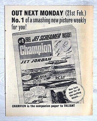 CHAMPION Comic #1 ISSUE 1 (Feb 1966) FLYER - VERY RARE !! From Lion. VG+ valiant
