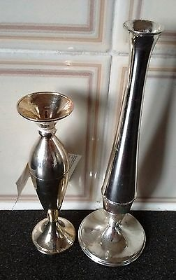 Pair Silver Plated Bud Vases/Tableware+Tag+Signed MAYELL E.P-ENGLAND.W-250g.New