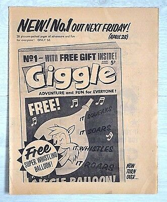 GIGGLE Comic #1 ISSUE 1 (April 1967) FLYER - VERY SCARCE !! From Lion VG+..beano