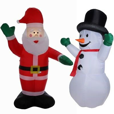 Homegear 8 ft Christmas Inflatable Value Pack - Air Blown Santa Claus + Snowman