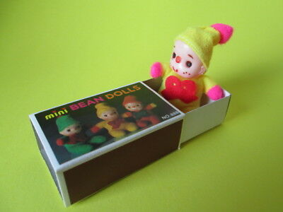 Vintage Mini Bean Doll Matchbox Doll 80's New Yellow