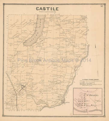 Castile St. Helena New York Antique Map Beers 1866 Original Wyoming County Gift