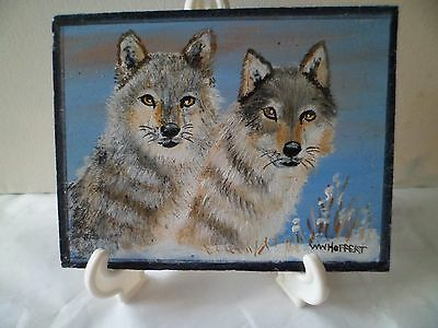 Wolves Pair-Hand Painted On Tile, With Easel, By Artist W. W. Hoffert