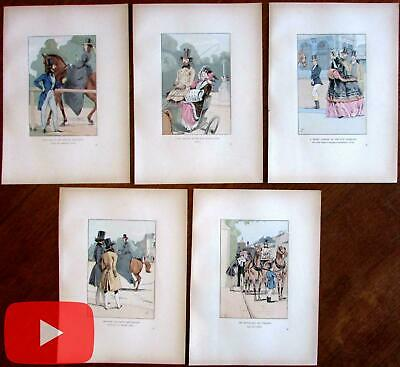 Male Fashion Illustration 1898 nice lot x 5 hand color prints horses equestrian