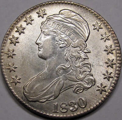 1830 Capped Bust Half Dollar. AU++. Large 0. Very Nice.