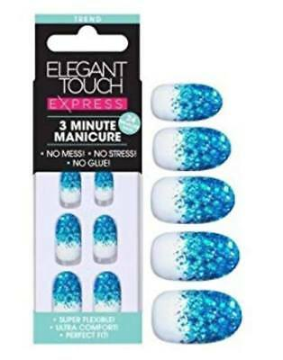 ELEGANT TOUCH EXPRESS False Nails - 3 Minute Manicure Blue Glitter- 24 Pre Glued