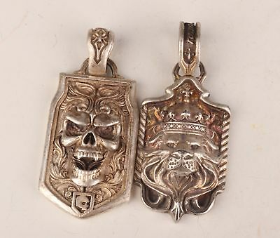 2 Tibetan Silver Hand Skull Lion King Statue Fashion Cool Necklace Pendant Gift