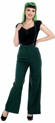 Collectif 40s Style Glinda Green Wide Swing Trousers