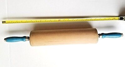 Vintage Mid Century Solid  Wood Rolling Pin  25 inches Extra Large