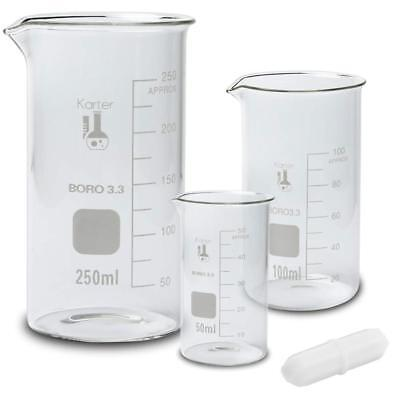 Glass Tall Form Beaker Set w/ Magnetic Stir Bar, 3 Sizes - 50, 100, 250ml