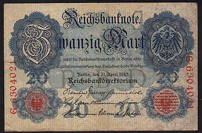 1910 20 Mark Germany Vintage Antique Rare Bill Paper Money Old Banknote Currency