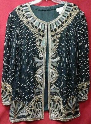 Ladies Tan-chho Beaded Jacket 1X Black And Gold Formal Wear