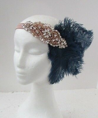 Navy Blue Rose Gold Nude Feather Headpiece 1920s Headband Flapper Gatsby 6499