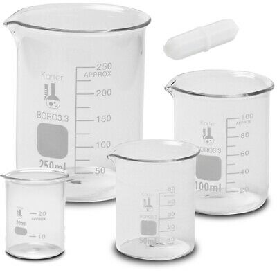 Glass Low Form Beaker Set w/ 1 inch Magnetic Stir Bar, 3.3 Boro, 4 sizes