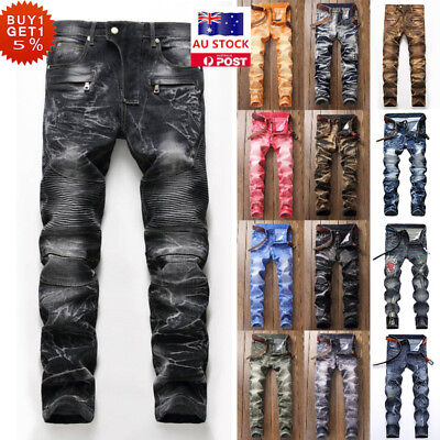 Mens Biker Skinny Stretch Washable Denim Jeans Destroyed Ripped Casual Trousers