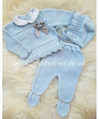 Spanish Style Baby Boys Blue & Grey Knitted Gift set. 0-3 months. Romany