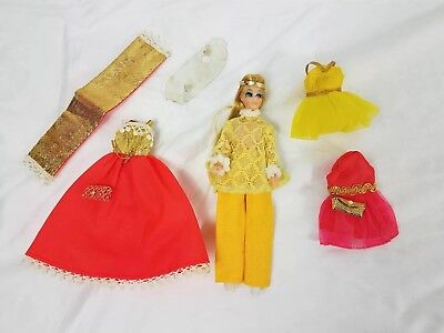 Topper Dawn Doll, Gold Metallic Pink Blonde with clothes Vintage