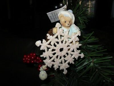 Cherished Teddies ornament Bear with snowflake/ bag of snow Item # 4005483