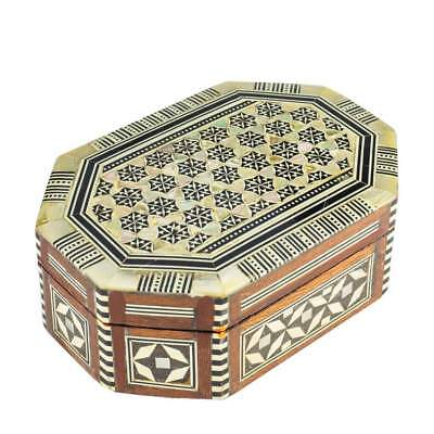 """Arts of Egypt- Egyptian Inlaid Mother of Pearl Octagon Jewelry 5.25 x 3.75 x 2""""H"""