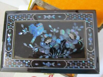 Yangzhou Lacquer Mother-of-Pearl Dotted Black Chinese Jewelry Box Birds &Flowers