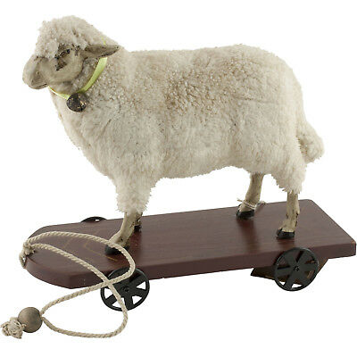 """Wooly Easter German Style Sheep Lamb Pull Toy Figure 11"""" Long"""