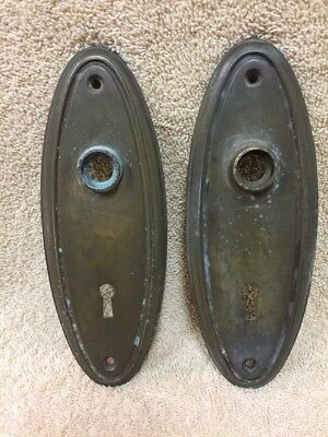 Pair Of Vintage Stamped Brass Plain Oval Door Knob Back Plates Escutcheons