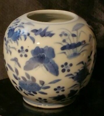 RARE Antique Chinese Blue & White Glazed Butterfly Birds Brush Pot 19th Century