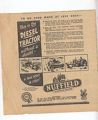 Nuffield Universal Tractor Advertisement removed from an Australian Newspaper