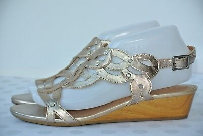 dcf6c019eaa Clarks Playful Tunes Womens 8.5 M Gold Leather Studded Scroll Wedge Sandals