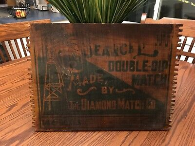 ANTIQUE VINTAGE ADVERTISE The Diamond Match Co. WOOD BOX CRATE SIDE SIGN