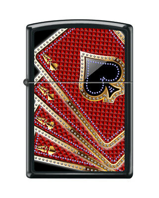 Zippo 7953, Card Suits-Aces, Black Matte Finish Lighter, Full Size