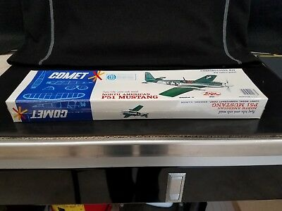 "Comet Flying Balsa Wood Model P-51 MUSTANG ""Rubber Power"" #3204 ©197X? - SEALED!"