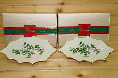 """Lenox Holiday-(2) Leaf Shaped Dish- Nuts, Candy, Mints, 7"""" x 4 1/4""""-Made in USA"""