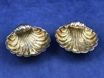 Antique Sterling Silver Sheffield Shell Shaped Nut Dishes - Francis Howard