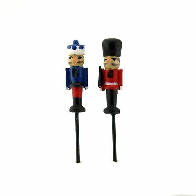 Miniature Fairy Garden Micro Mini Nutcracker Picks - Set of 2