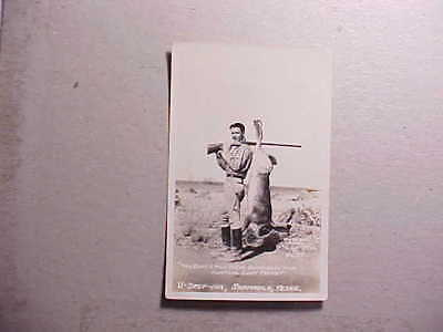 1940s RPPC REAL PHOTO EXAGGERATION CARD HUNTER WITH GIANT TEXAS JACK RABBIT VG+