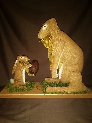 Primitive Decor mother rabbit and baby set Easter