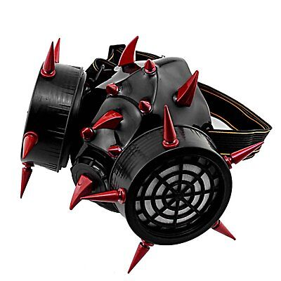 Red Metal Devil Claw Spike Cosplay Gas Mask Costume Steampunk Respirator